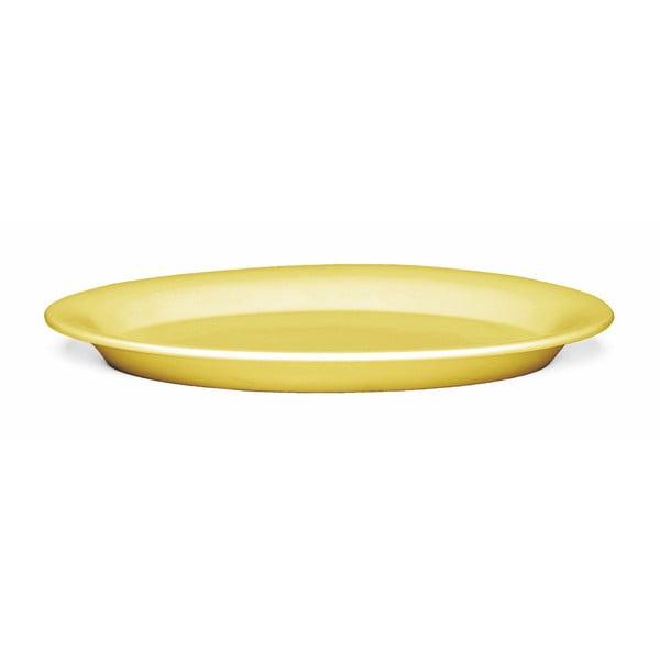 Žlutý kameninový talíř Kähler Design Ursula, 33 x 22 cm