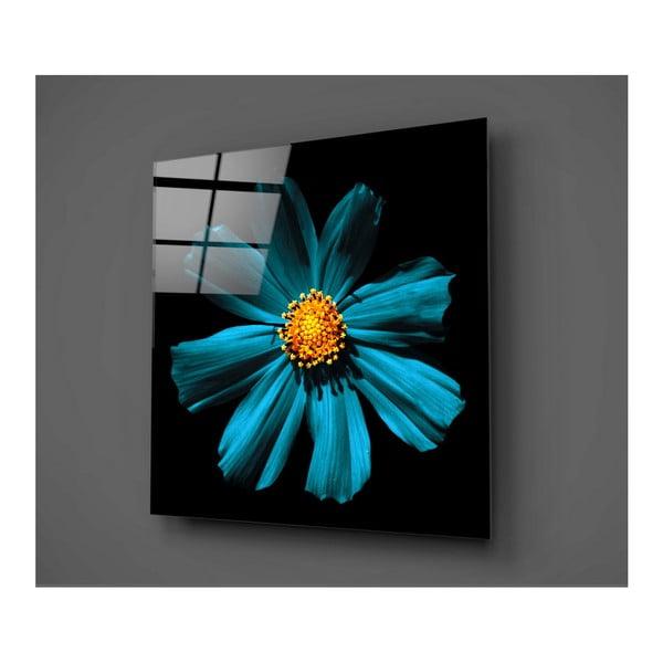 Czarno-turkusowy obraz szklany Insigne Flowerina, 30x30cm