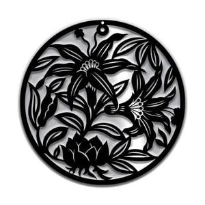 Černá nástěnná dekorace Dekorjinal Pouff Flowers, ⌀48cm