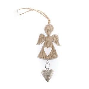 Dřevěný závěsný anděl se srdíčkem ve stříbrné barvě Dakls, 5 cm