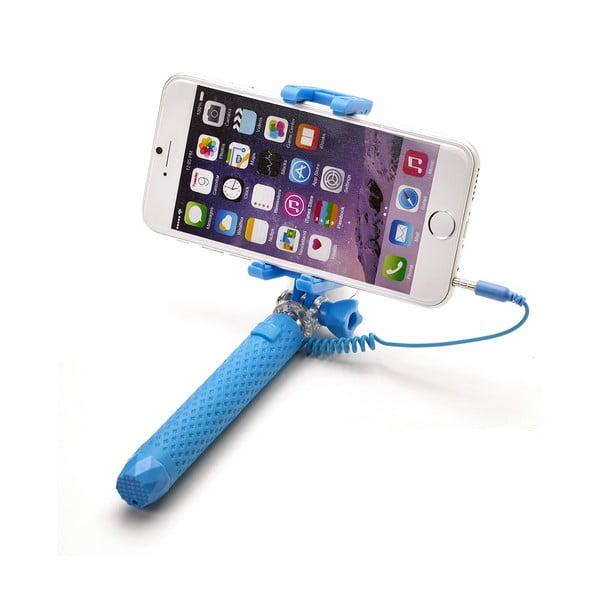Světle modrá selfie tyč Celly Mini selfie, spoušť přes 3.5mm jack