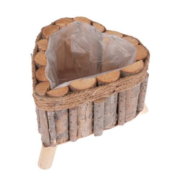 Dřevěný truhlík ve tvaru srdce na nožičkách Dakls