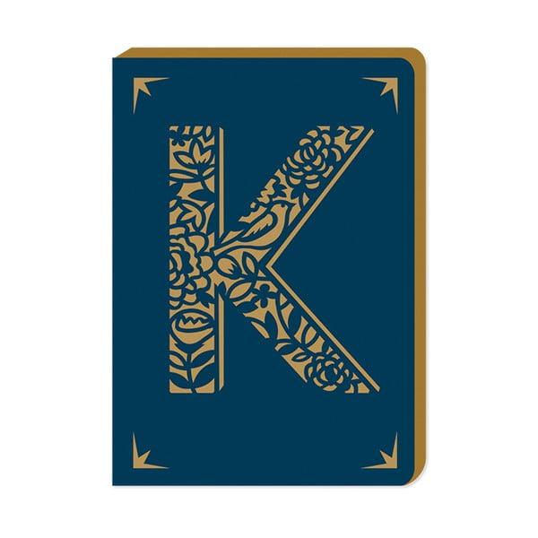 Linkovaný zápisník A6 s monogramem Portico Designs K, 160 stránek