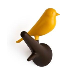 Set 4 háčků vrabčáci, hnědá/žlutá