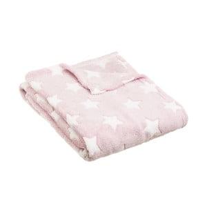 Světle růžová deka s motivem hvězdiček Unimasa,170x130cm