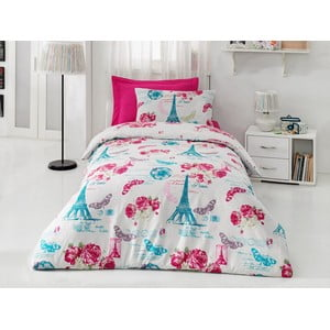 Lenjerie de pat cu cearșaf Pink Rose, 160x220 cm