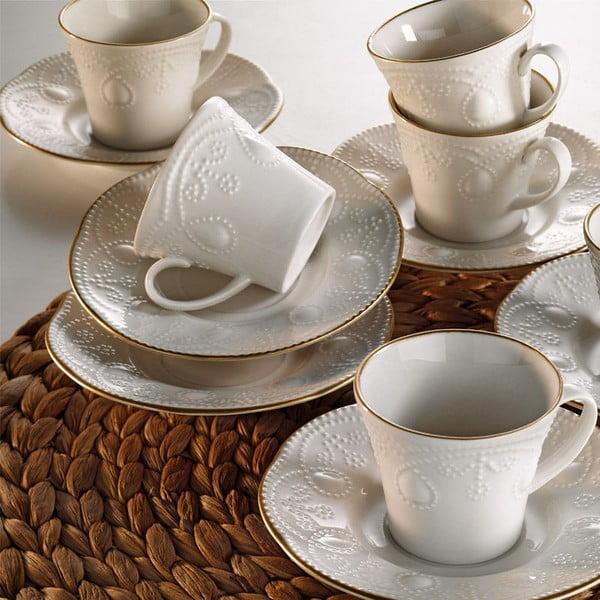 Sada 6 porcelánových šálok na kávu s tanierikom Kutahya Stitched