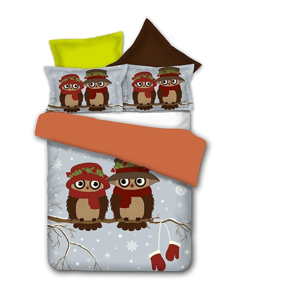 Povlečení z mikrovlákna DecoKing Owls Winterstory, 200 x 220 cm