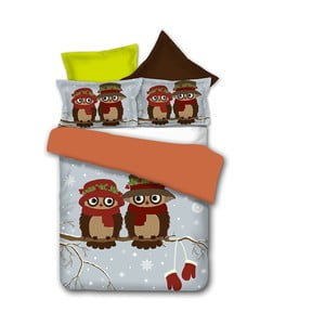 Lenjerie de pat din microfibră DecoKing Owls Winterstory, 135 x 200 cm