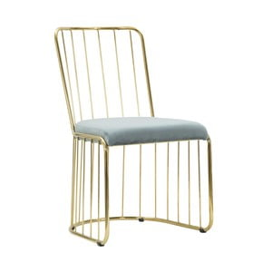 Sada 2 světle modrých židlí s konstrukcí ve zlaté barvě Mauro Ferretti Sedia