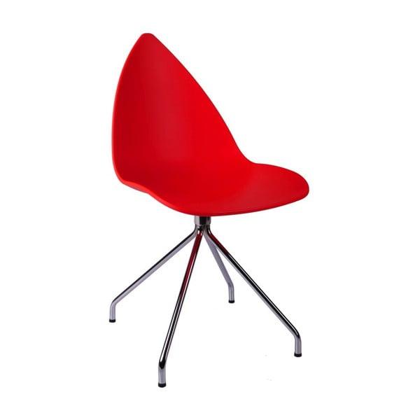 Červená židle Rush Chrom