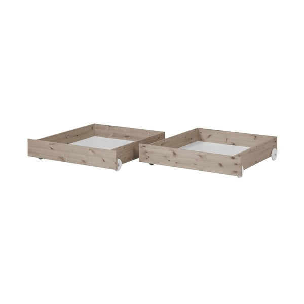 Sada 2 hnědých úložných zásuvek z borovicového dřeva k dětské posteli Flexa Classic
