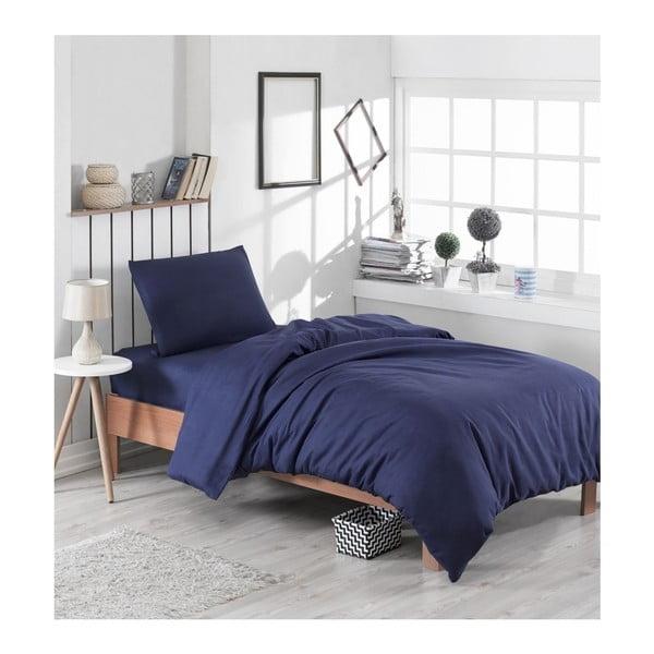 Lenjerie din bumbac pentru pat de o persoană Puresso Panteja, 140 x 200 cm, albastru