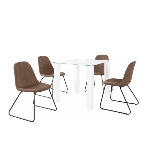 Sada stolu a 4 hnědých židlí Støraa Dante Colombo