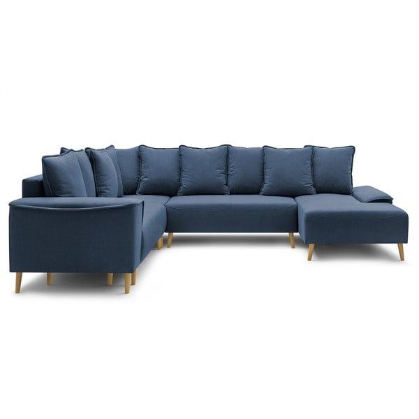 Granatowa rozkładana sofa Bobochic Paris Gaia Panoramique XXL, prawostronna