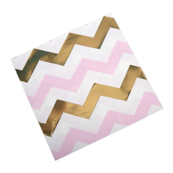 Set 16 șervețele din hârtie Neviti Pattern Works Zig, roz