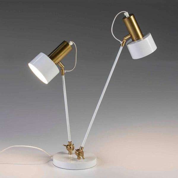 Bílá stolní lampa s konstrukcí ve zlaté barvě se 2 stínidly Thai Natura