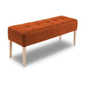 Oranžová lavice s dubovými nohami Mossø Hattu, délka 132 cm