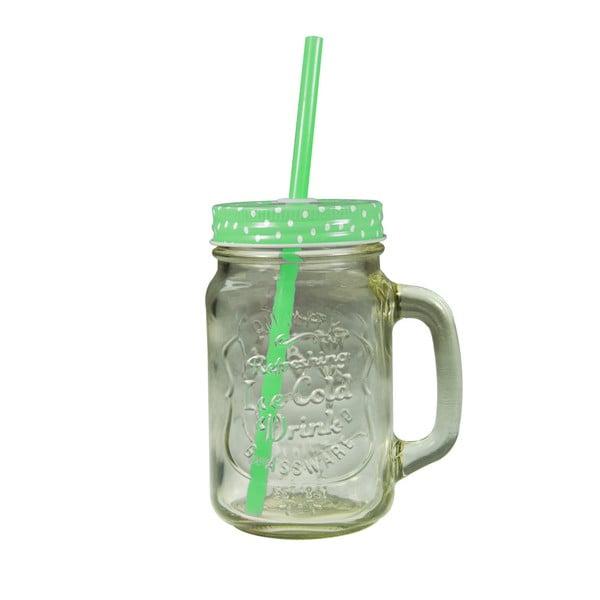 Sklenice se zeleným krytem a brčkem JOCCA Straw, 430 ml