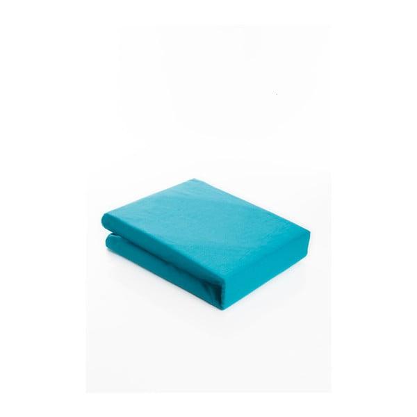 Světle tyrkysové elastické bavlněné prostěradlo Fitted Sheet Pareyo, 160 x 200 cm