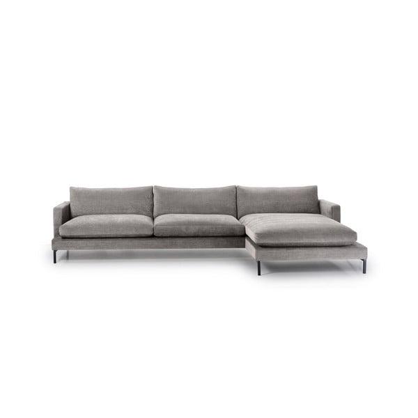 Szara 3-osobowa sofa z prawostronnym szezlongiem Softnord Leken