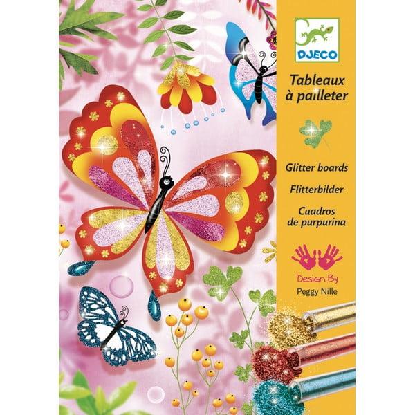 """Set creativ pentru copii de colorat cu nisip Djeco """"Fluturași strălucitori"""""""