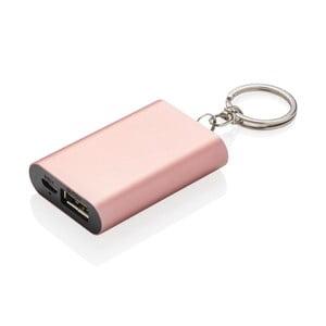 Kompaktní powerbanka na klíče v růžové barvě XD Design