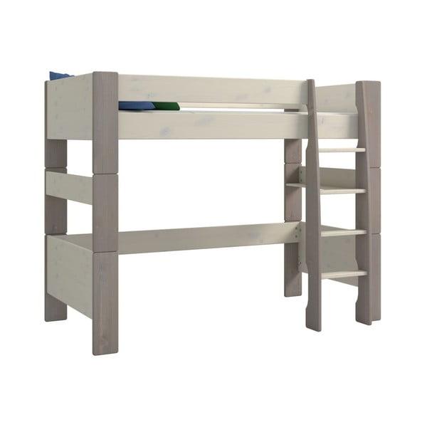 Biela detská poschodová posteľ z borovicového dreva so sivými nohami Steens For Kids, výška 164 cm