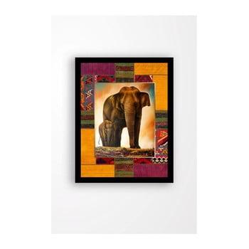 Tablou pe pânză în ramă neagră Tablo Center Elephant Family, 29 x 24 cm de la Tablo Center