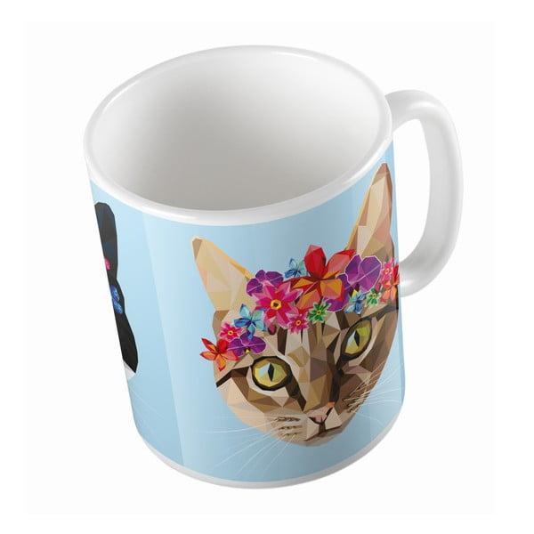 Keramický hrnek Butter Kings Cat With Flowers, 330 ml