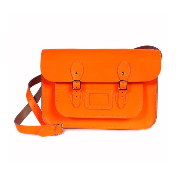 """Kabelka Satchel 14"""", neonově oranžová"""
