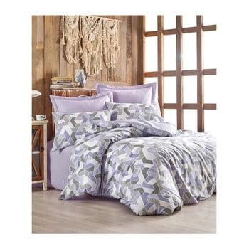 Lenjerie cu cearșaf din bumbac ranforce pentru pat dublu Well Lilac, 200 x 220 cm de la Unknown