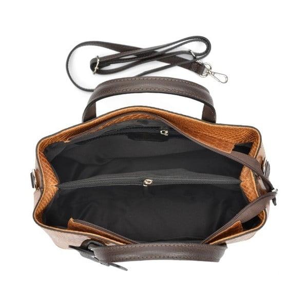 Koňakově hnědá kožená kabelka Roberta M Lucy