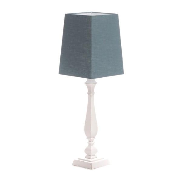 Modrá  stolní lampa Tower, bílá lakovaná bříza, 20 x 20 cm