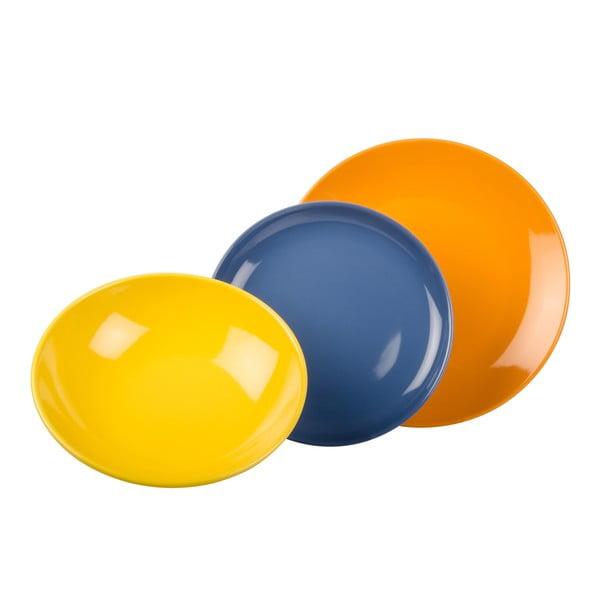 18dílná sada talířů Kaleidos, oranžovo-modro-žlutá