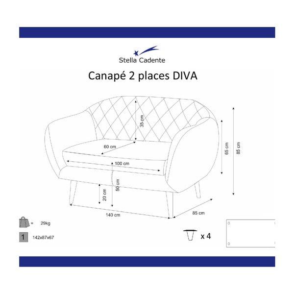 Canapea pentru 2 persoane Scandi by Stella Cadente Maison Diva, verde