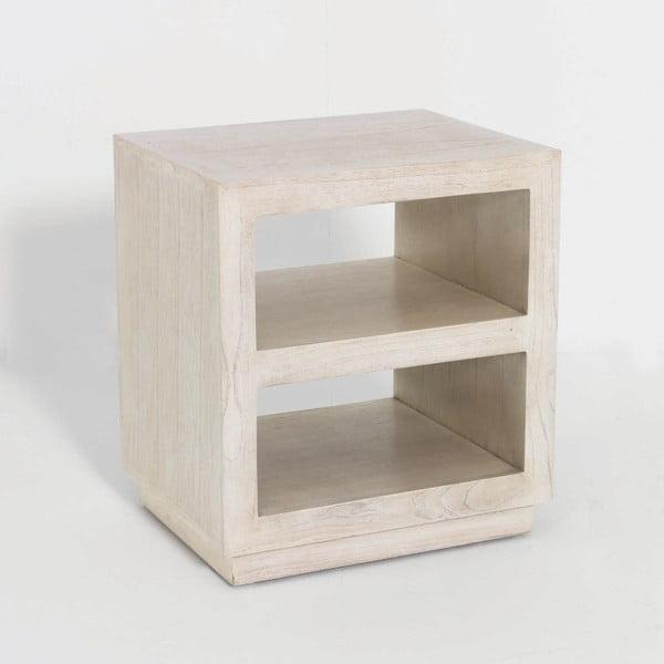 Biely drevený nočný stolík Thai Natura Boxy, 50×55 cm
