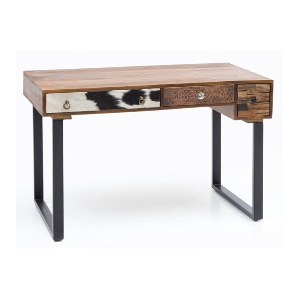 PATNA tömör mangófa 3 fiókos íróasztal - Skyport