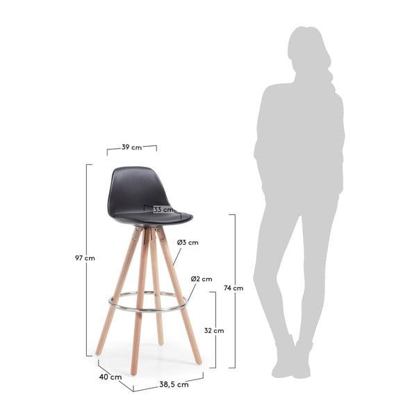 Scaun de bar cu picioare din lemn Forma Stag, negru