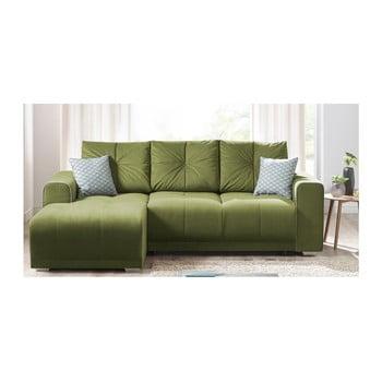 Canapea cu șezlong pe partea stângă Bobochic Lisboa verde