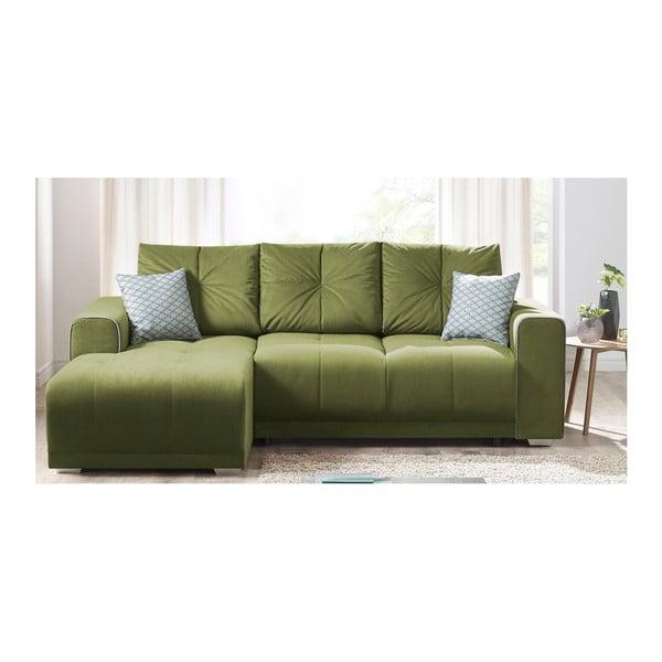 Lisbona zöld kinyitható kanapé, bal sarok - Bobochic Paris