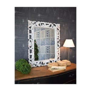 Bílé zrcadlo z mangového dřeva Orchidea Milano Antique, 80x100cm
