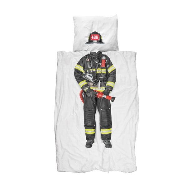 Lenjerie de pat de o persoană, din bumbac Snurk Firefighter, 140 x 200 cm