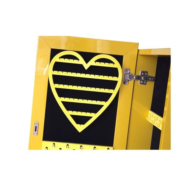 Uzamykatelné stojací zrcadlo se šperkovnicí Serena, žluté