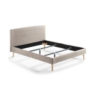 Béžová dvoulůžková čalouněná postel La Forma Lydia Dotted,, 200x160cm
