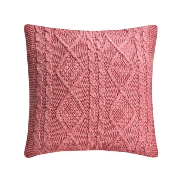 Pletený polštář Kosem 43x43 cm, růžový