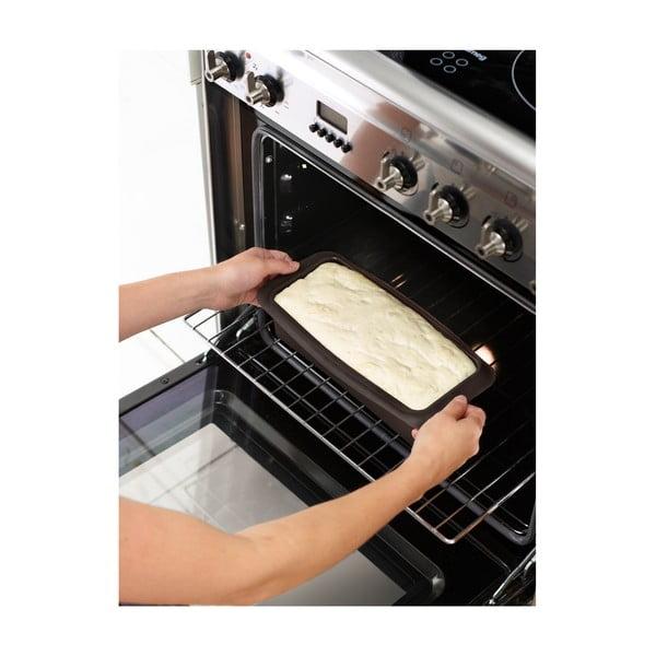Černá hranatá silikonová forma na pečení chleba Lékué, délka 25 cm