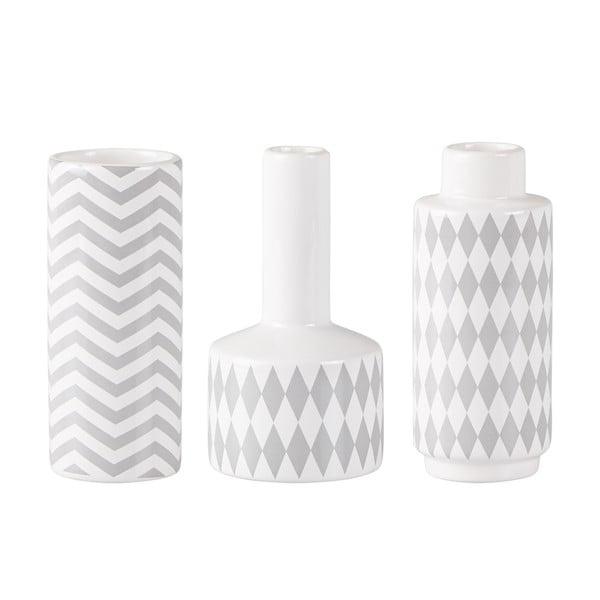 Sada 3 keramických šedo-bílých váz KJ Collection Niels
