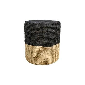 Puf din lemn de palmier cu detalii negre HSM collection Raffia, 36 x 45 cm