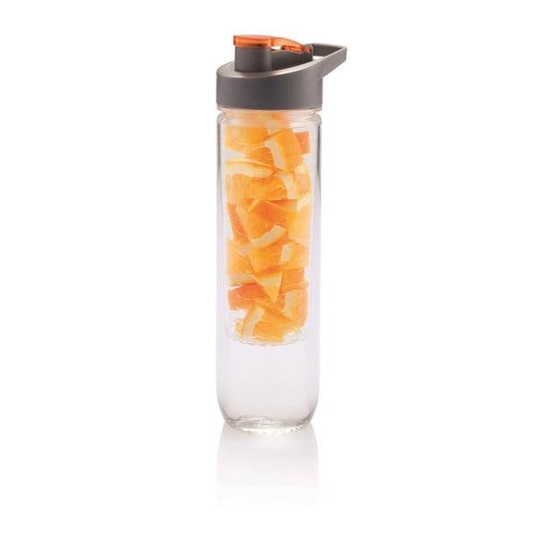 Pomarańczowa butelka z sitkiem na owoce XD Design Loooqs, 800 ml